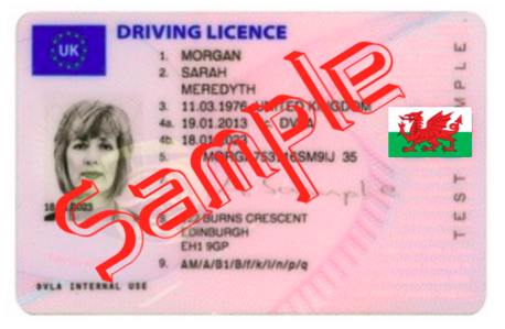 A WELSH DRIVING LICENCE