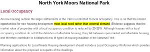 Local occupancy North York Moors