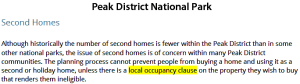 Peak Districy local occupancy