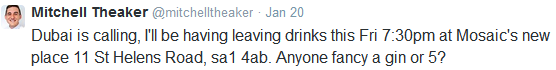 Theaker tweet Dubai, Jan 2015