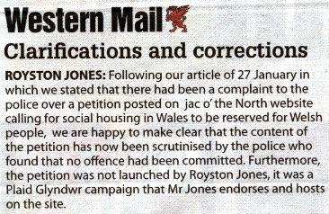Western Mail apology short
