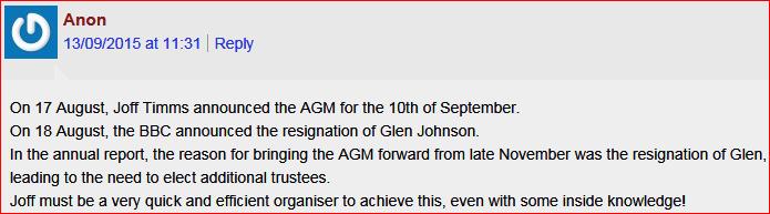 Resignation AGM