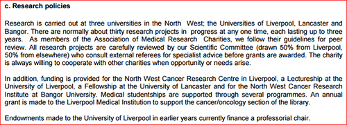 North West Cancer Research grants