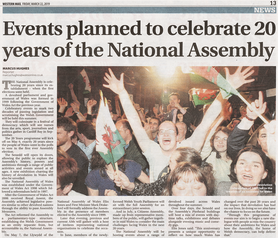 3e06b2518e5 The picture shows people celebrating the referendum result in September  1997. I guarantee there will be no such celebrations for the Assembly s  20th ...