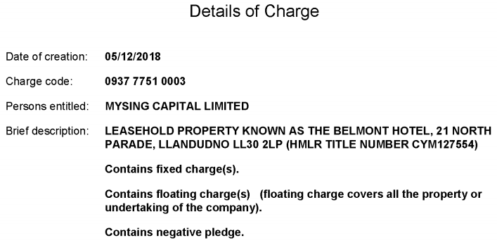 Belmont Hotel charge