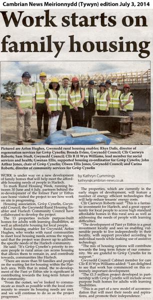 Cambrian News, Harlech homes