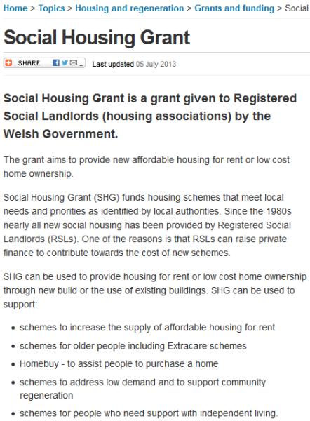 Social Housing Grant